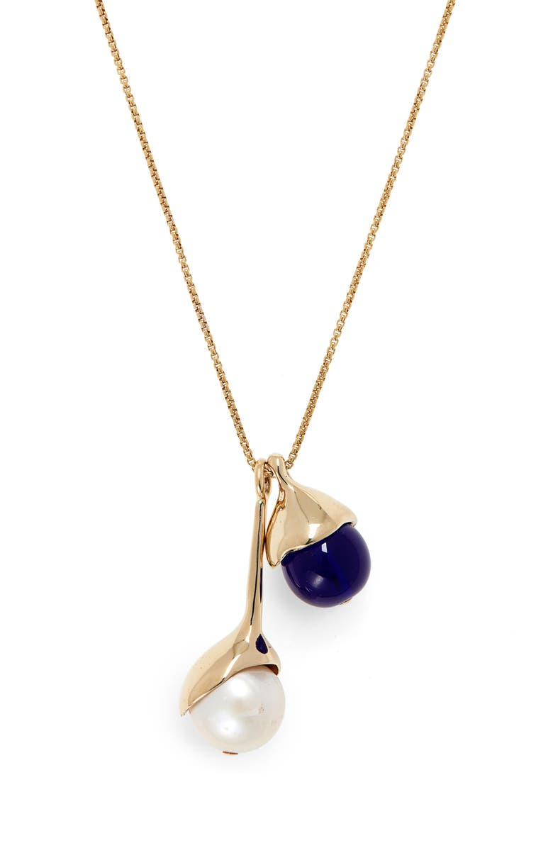 FARIS Freshwater Pearl Pendant Necklace, Main, color, BRONZE