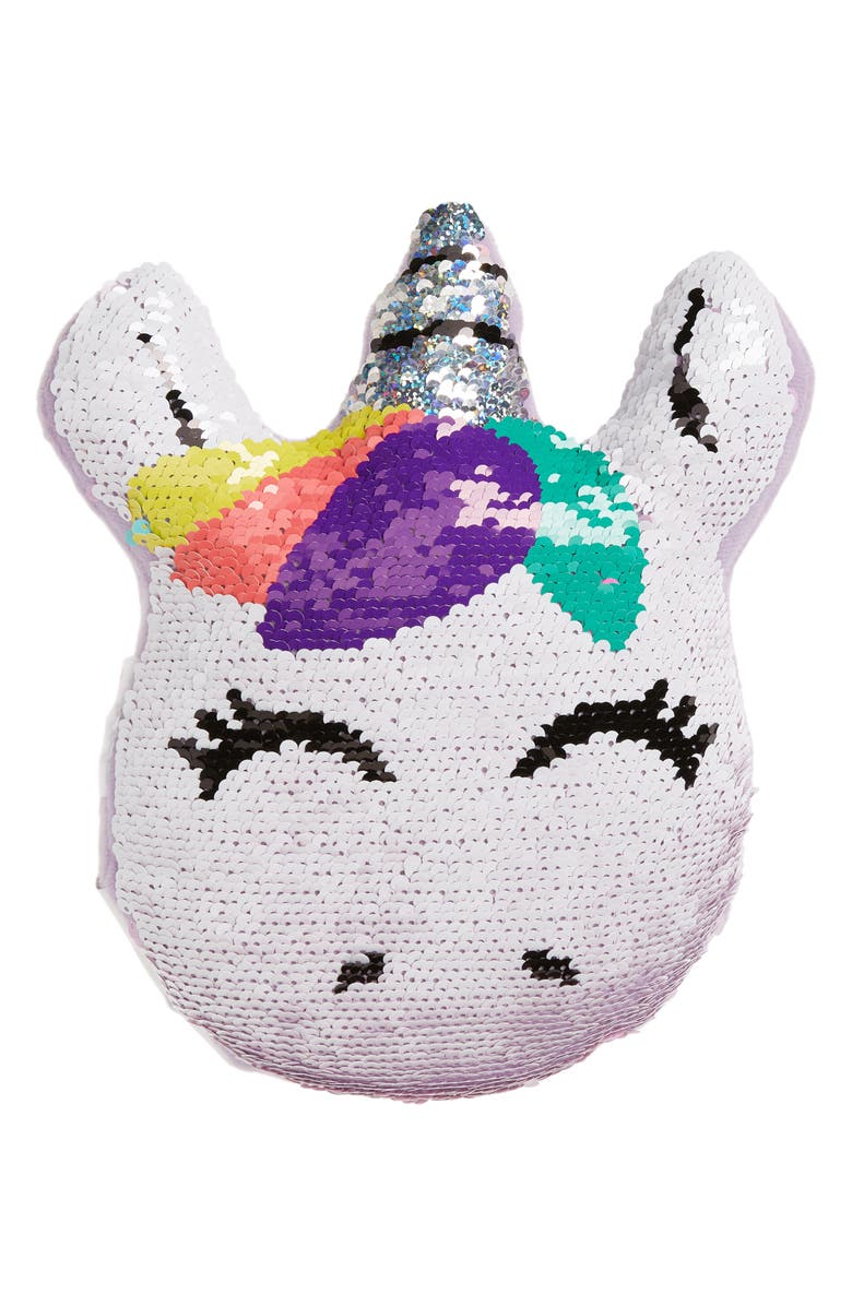 ISCREAM Mini Unicorn Flip Sequin Pillow, Main, color, MULTI