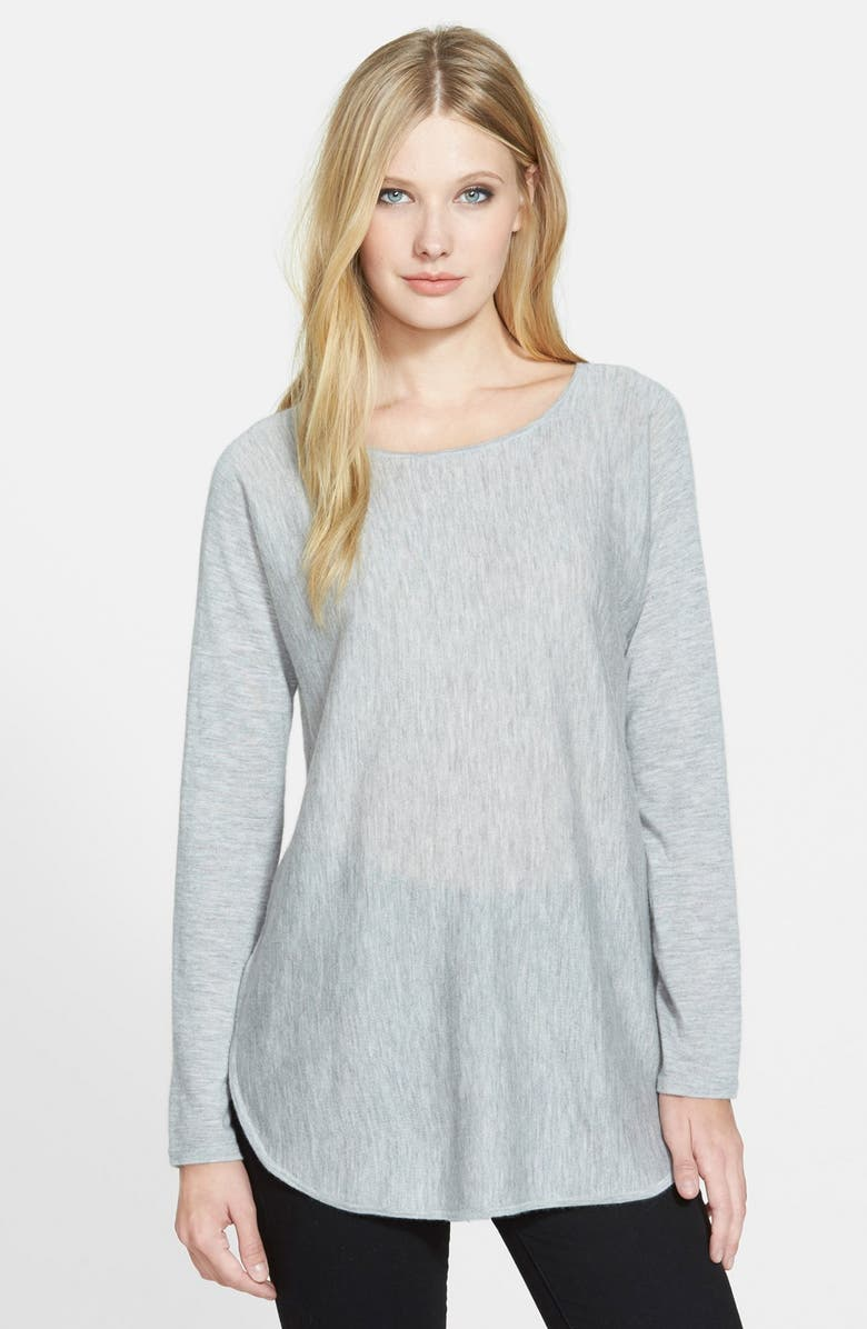 EILEEN FISHER Ballet Neck Cashmere Tunic Sweater, Main, color, 022