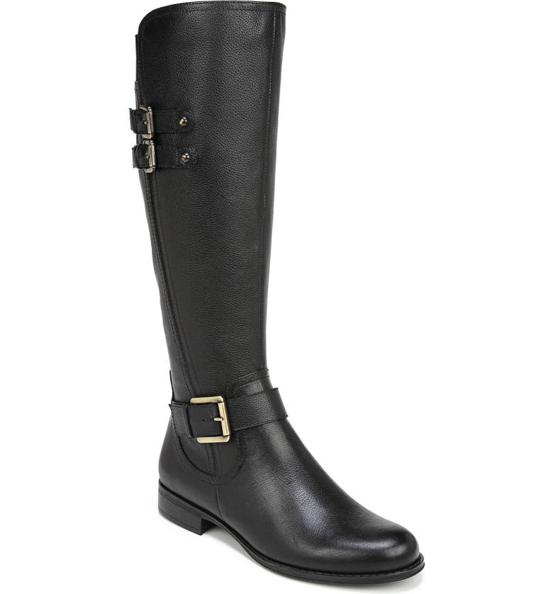 NATURALIZER Jessie Knee High Riding Boot, Main, color, BLACK LEATHER