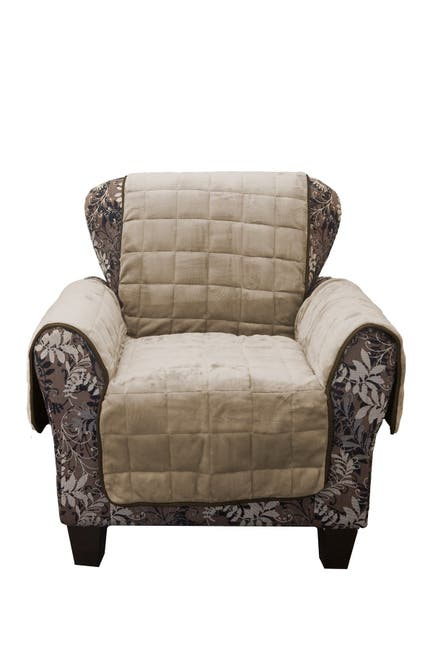 Image of Duck River Textile Joseph Flannel Reversible Waterproof Microfiber Chair Cover - Taupe/Mocha