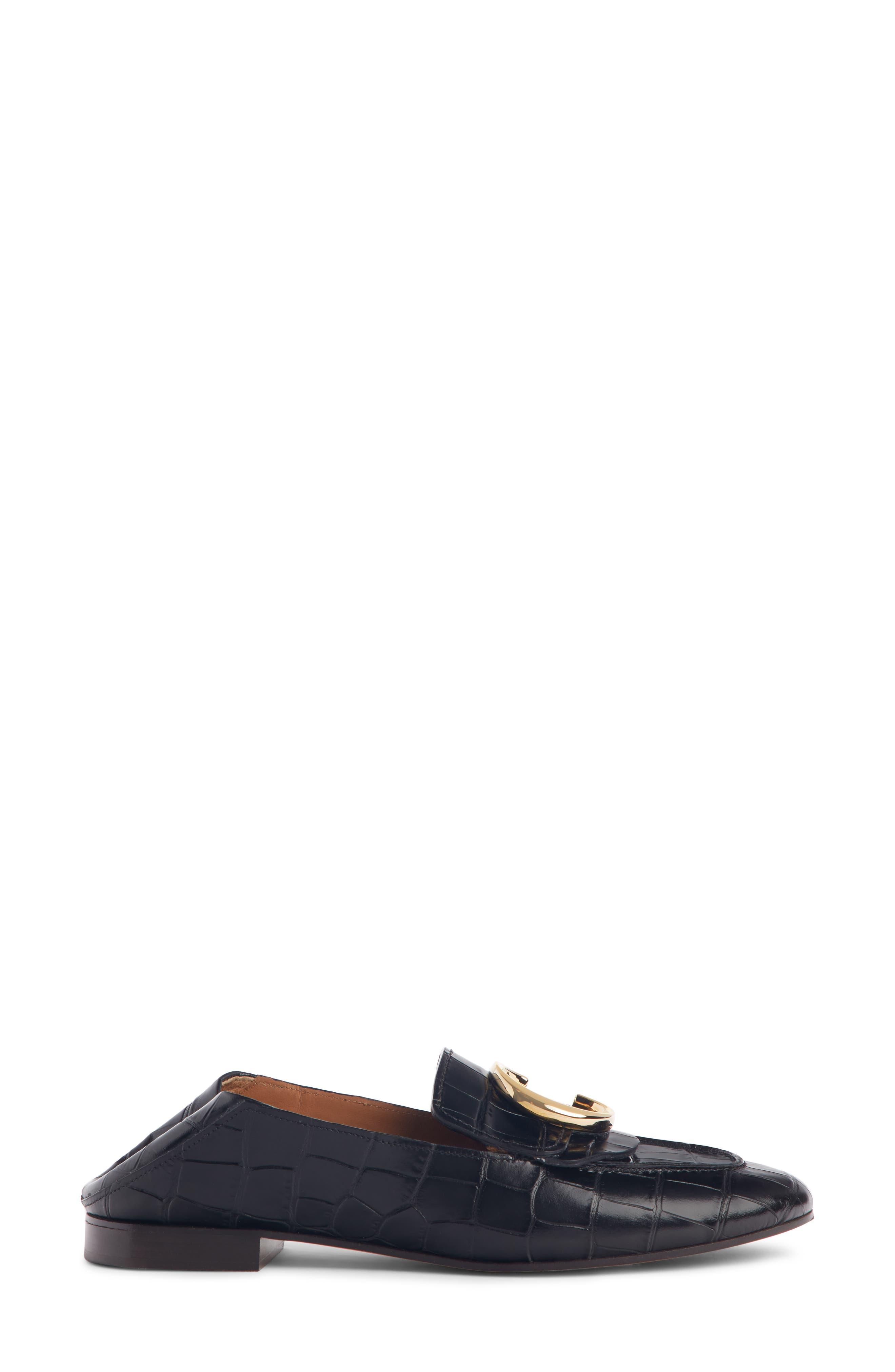 ,                             C Croc-Embossed Convertible Loafer,                             Alternate thumbnail 4, color,                             BLACK