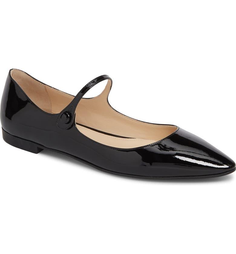 PRADA Pointy Toe Mary Jane Flat, Main, color, BLACK PATENT