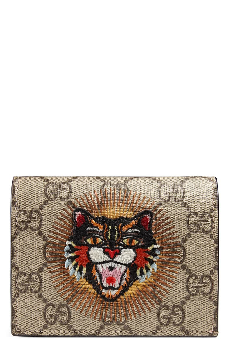 c5dba8538 Embroidered Angry Cat GG Supreme Canvas Card Case, Main, color, 250