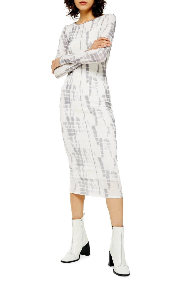 TOPSHOP Long Sleeve Batik Mesh Midi Dress, Main, color, 100