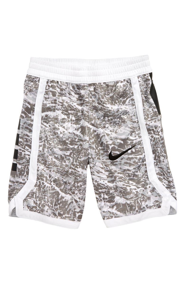 NIKE Dry Elite Print Shorts, Main, color, WHITE