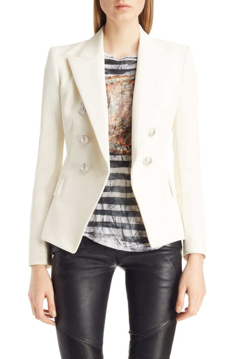BALMAIN Double Breasted Wool Blend Blazer, Main, color, 100