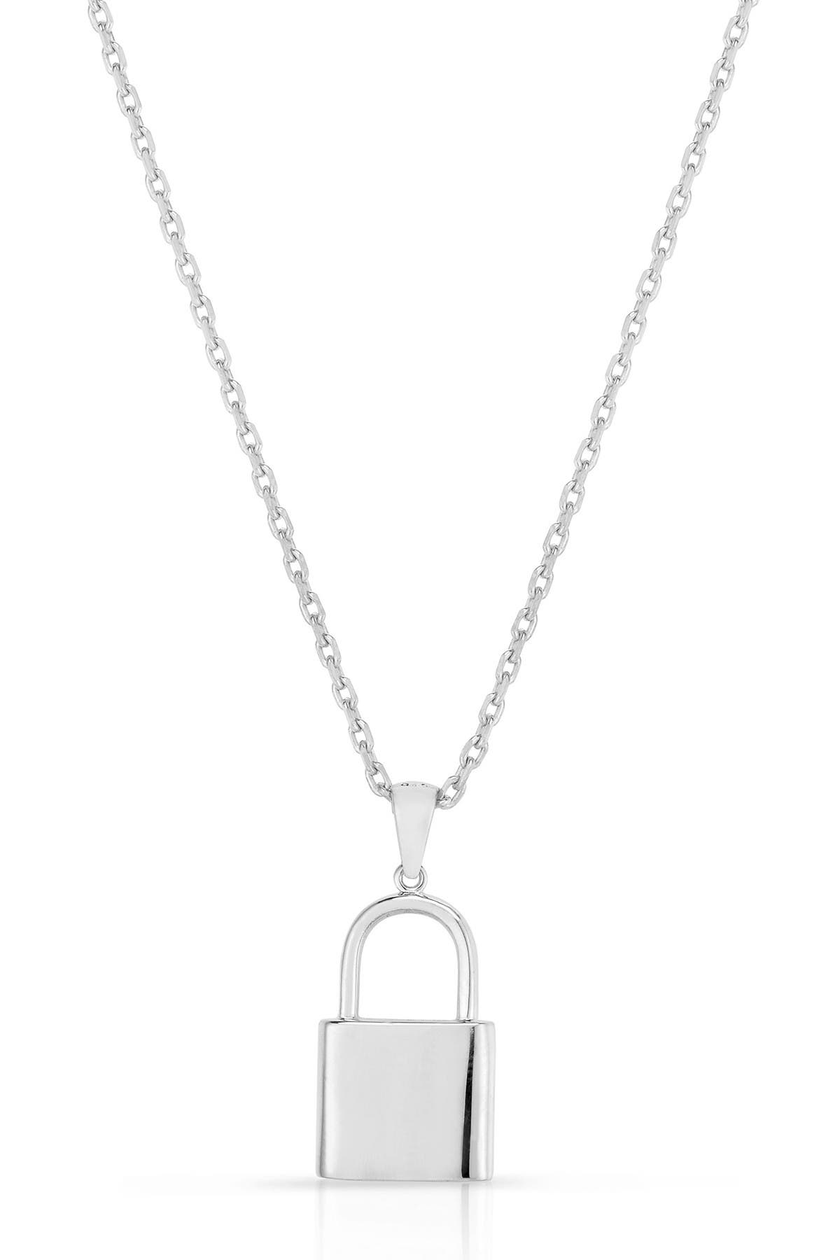 Image of Sphera Milano 14K White Gold Plated Sterling Silver Padlock Pendant Necklace