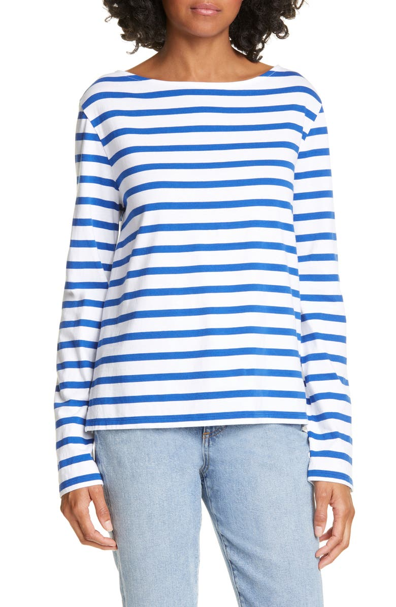 LA LIGNE Stripe Bateau Tee, Main, color, WHITE/ BLUE