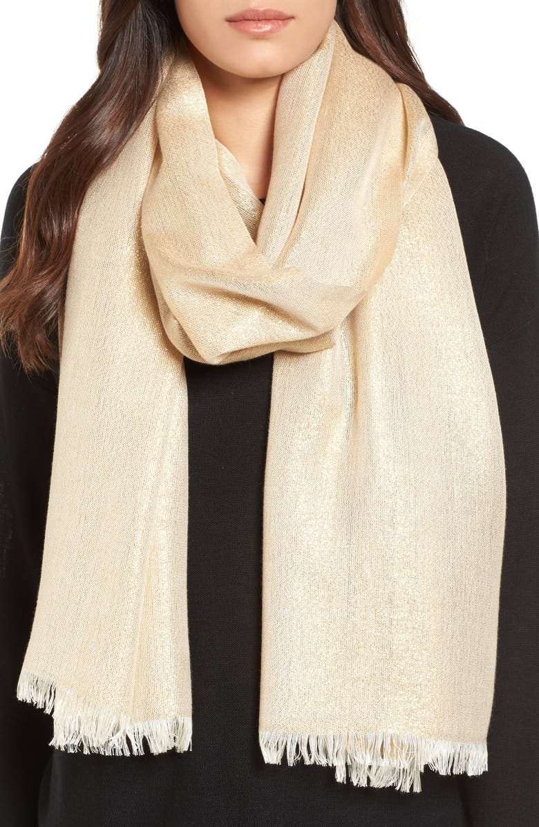 NORDSTROM Metallic Lightweight Wrap, Main, color, GOLD