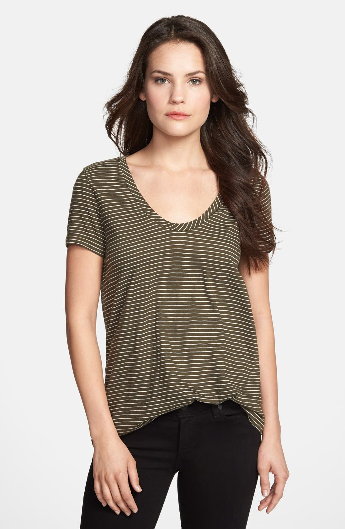 ,                             Relaxed Slub Knit U-Neck Tee,                             Main thumbnail 181, color,                             302