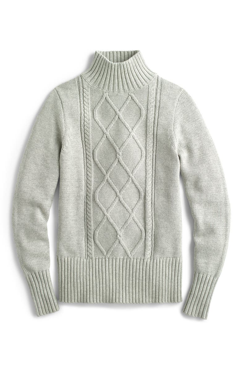 J.CREW Mock Neck Center Cable Knit Sweater, Main, color, HEATHER DUSK