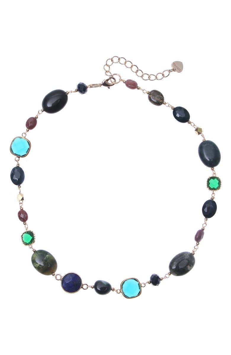 NAKAMOL CHICAGO Gemstone Necklace, Main, color, GREEN/ GOLD MIX