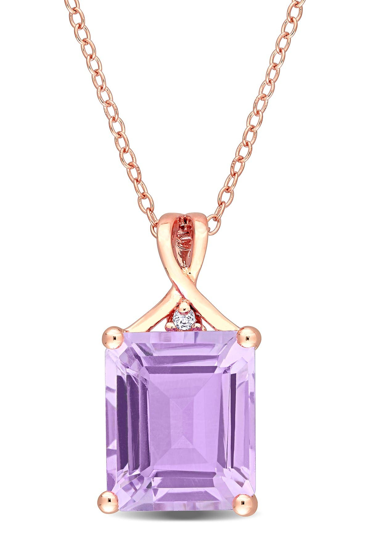 Image of Delmar Rose Plated Sterling Silver Baguette Cut Amethyst Pendant Necklace