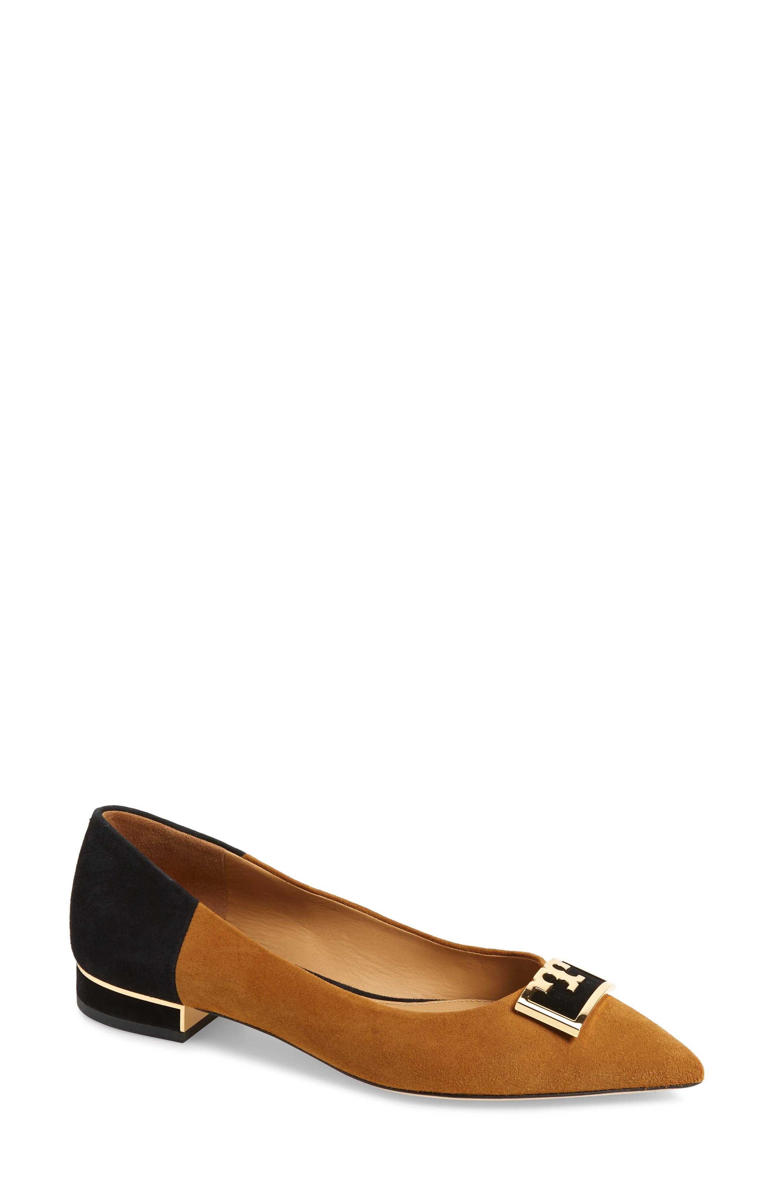 Tory Burch Gigi T Logo Pointy Toe Flat- Brown