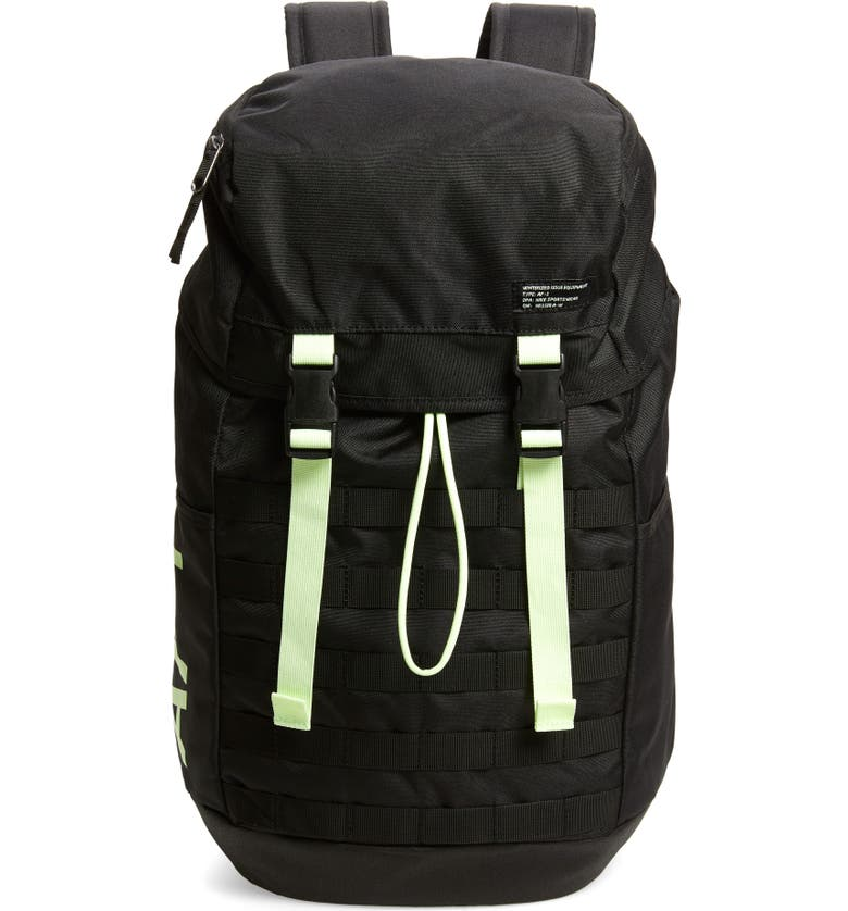 NIKE AF-1 Backpack, Main, color, BLACK/ BARELY VOLT