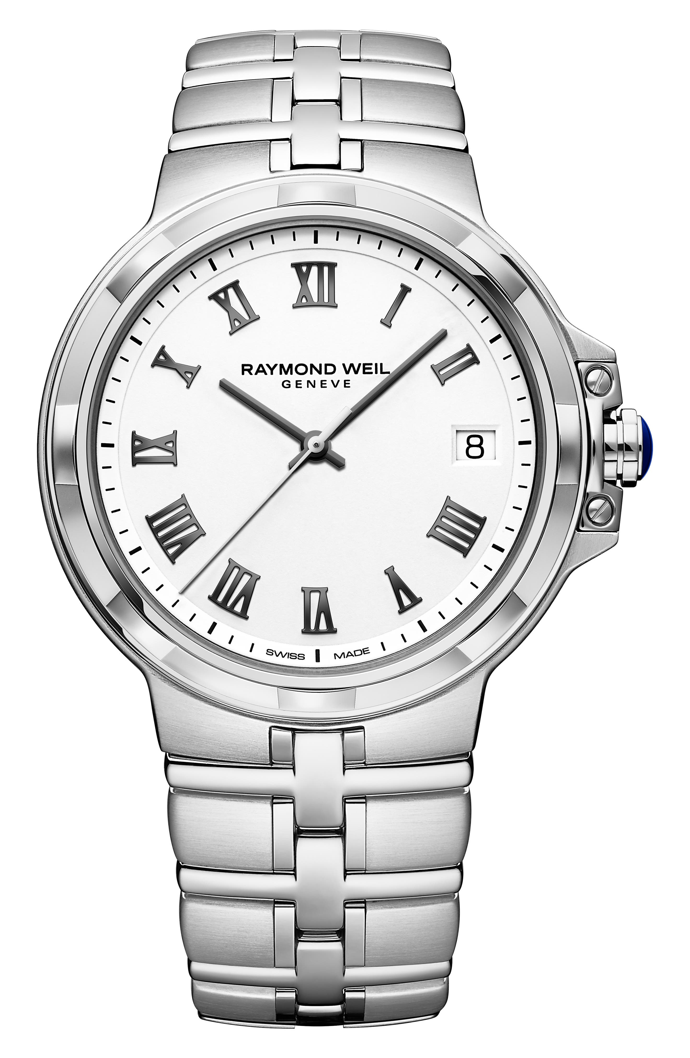 Parsifal Bracelet Watch, 40mm, Main, color, SILVER/ WHITE/ SILVER