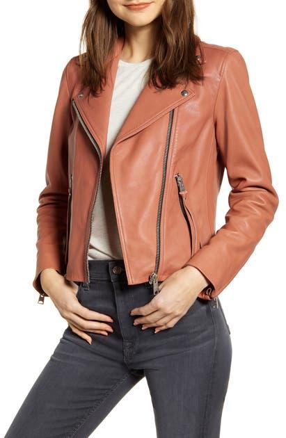 f7f1bd7af Dalby Leather Biker Jacket in Rose Pink