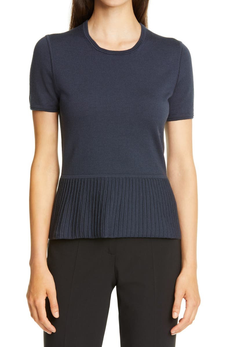 BOSS Faly Short Sleeve Ribbed Peplum Wool Blend Sweater, Main, color, NAVY
