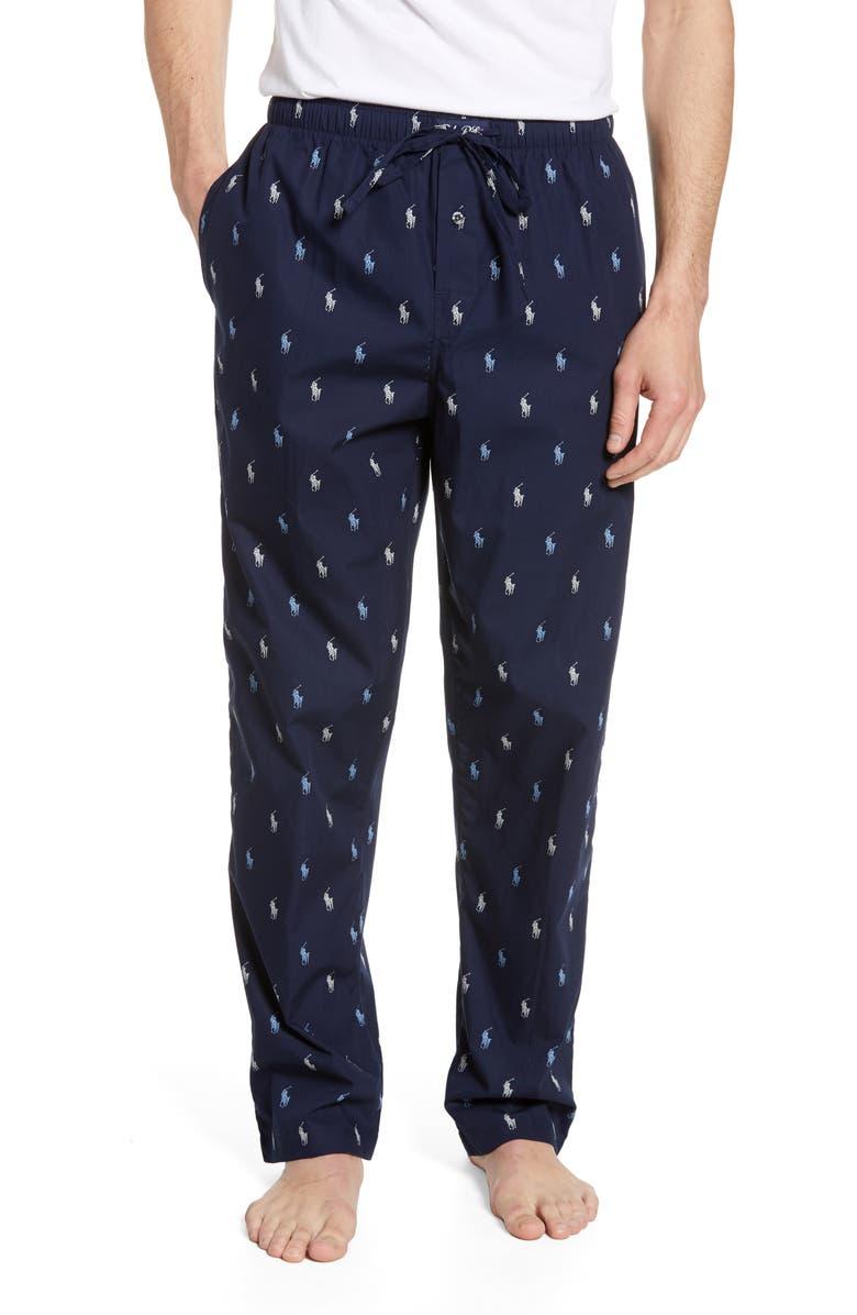 POLO RALPH LAUREN Classic Cotton Pajama Pants, Main, color, CRUISE NAVY