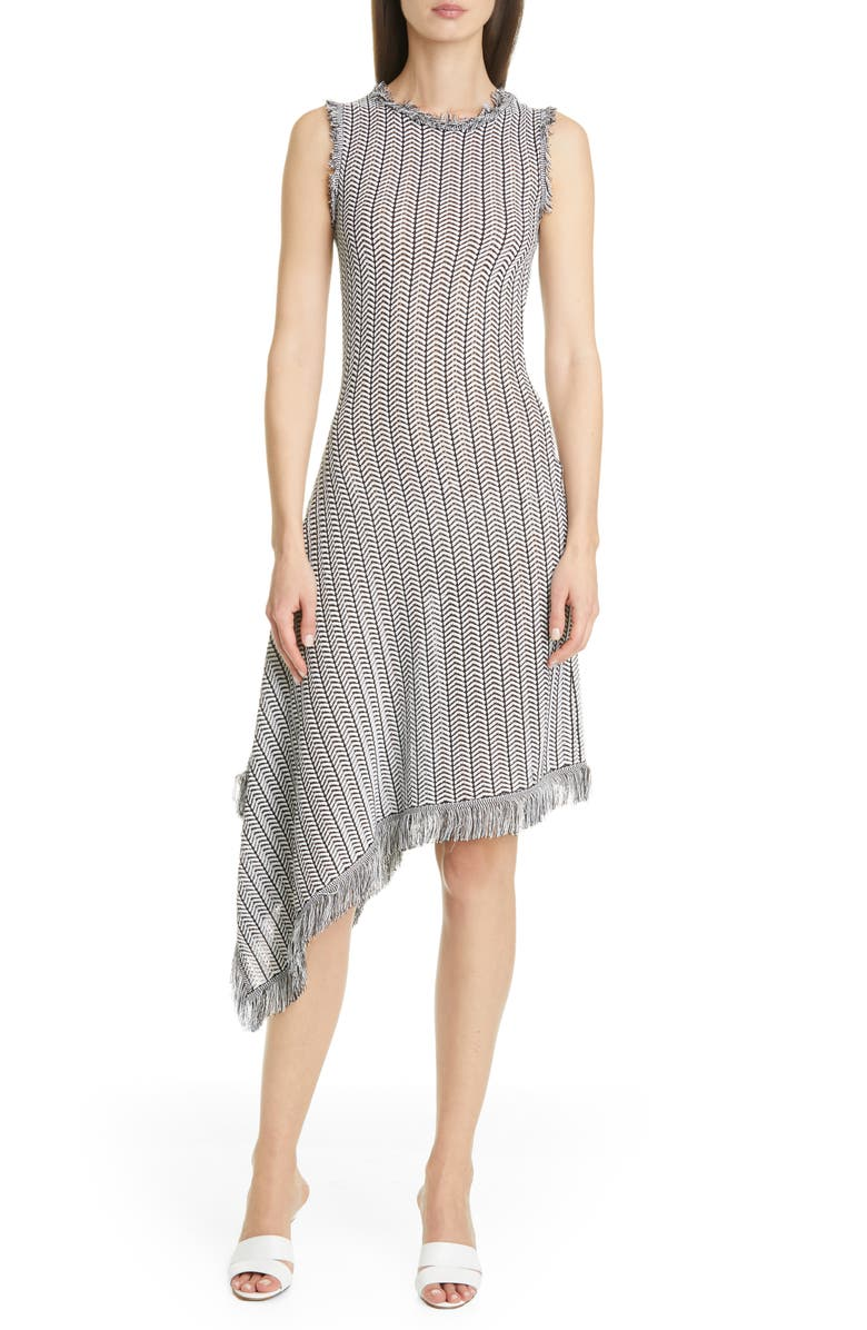 OSCAR DE LA RENTA Herringbone Knit Asymmetrical Dress, Main, color, BLACK/ WHITE