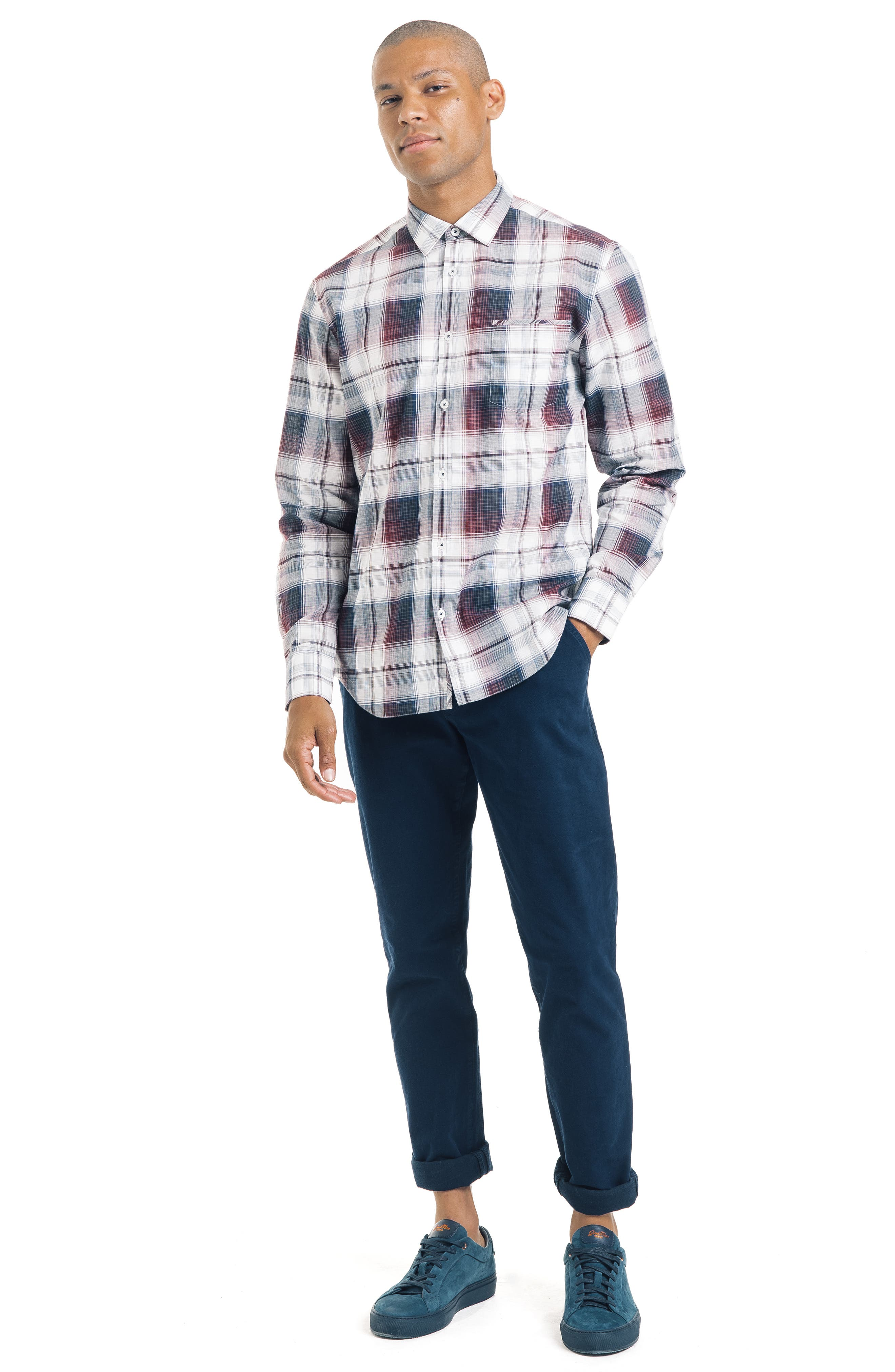 ,                             Slim Fit Plaid Sport Shirt,                             Alternate thumbnail 5, color,                             WHITE