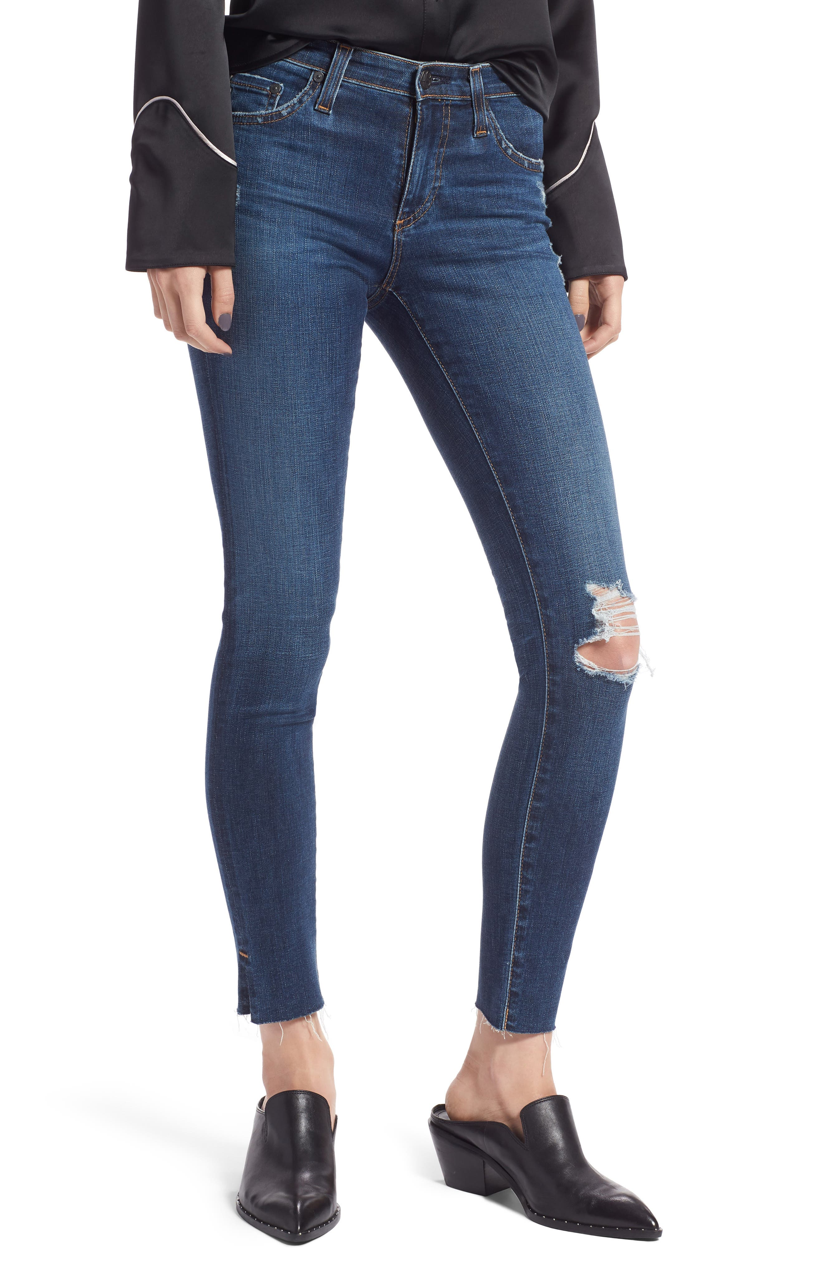 The Legging Ripped Ankle Skinny Jeans, Main, color, 413