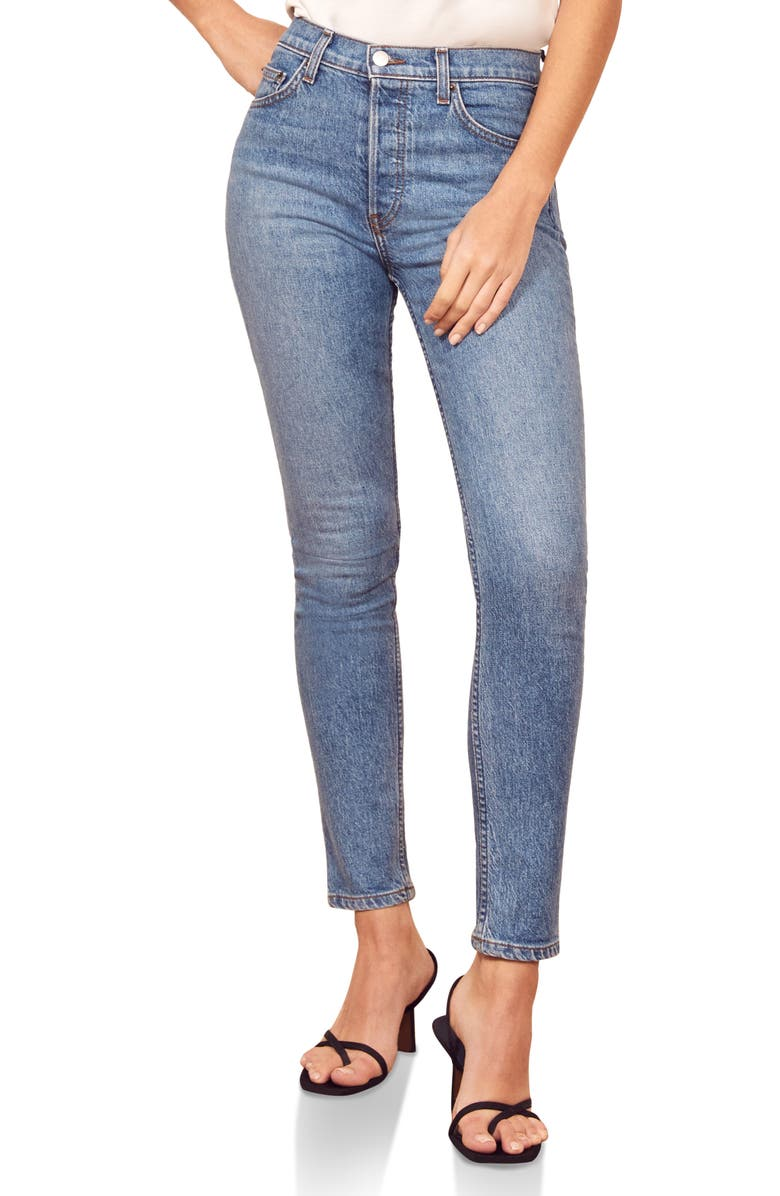 REFORMATION Serena High Waist Skinny Jeans, Main, color, MAYA