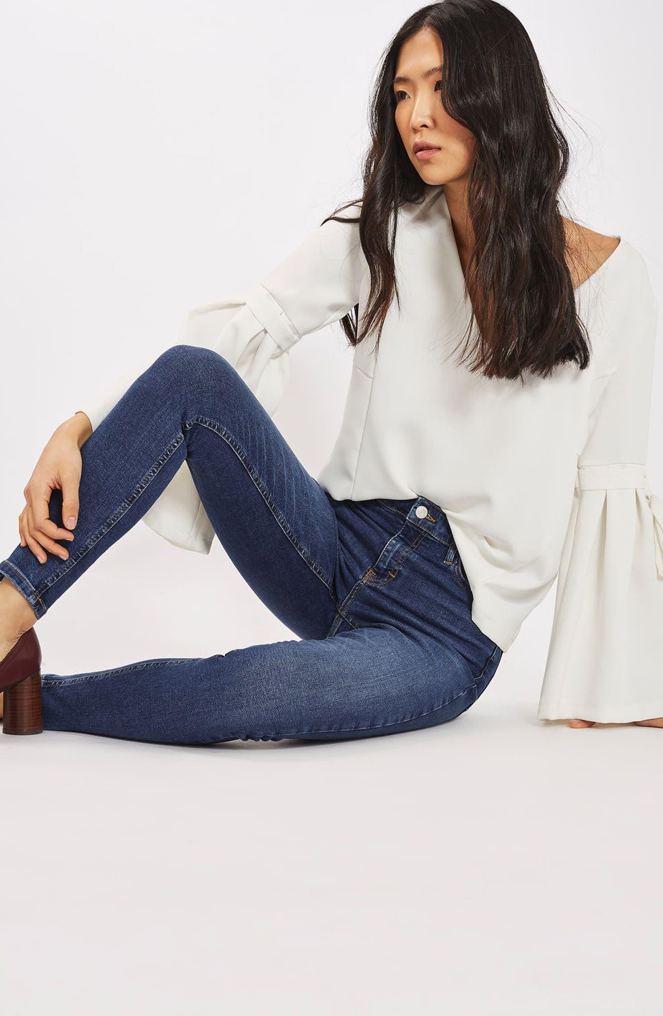 ,                             Jamie Indigo High Waist Skinny Jeans,                             Alternate thumbnail 8, color,                             401