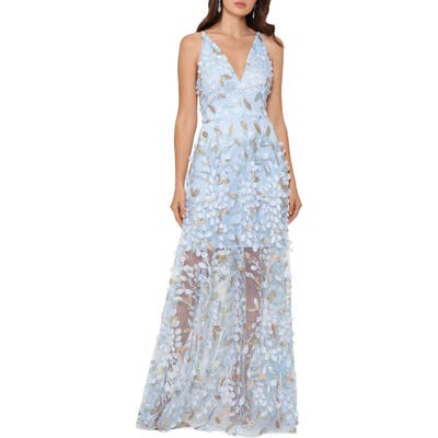 Xscape 3D Floral V-Neck Gown, Blue