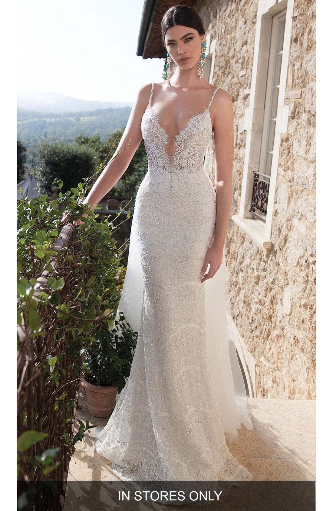 Berta Embellished Lace Column Gown With Detachable Train