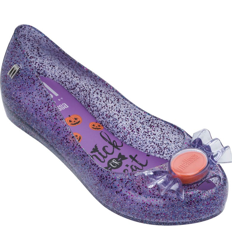 MEL BY MELISSA Ultragirl Trick or Treat Flat, Main, color, GLITTER PURPLE