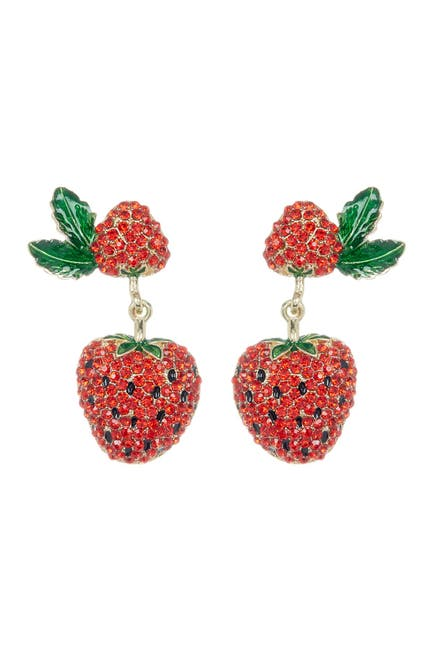 Image of Eye Candy Los Angeles Strawberry Summer Pave Crystal Drop Earrings