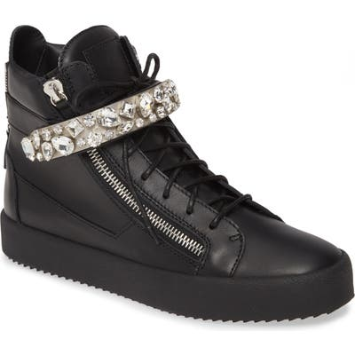 Giuseppe Zanotti Studded High Top Sneaker, Black
