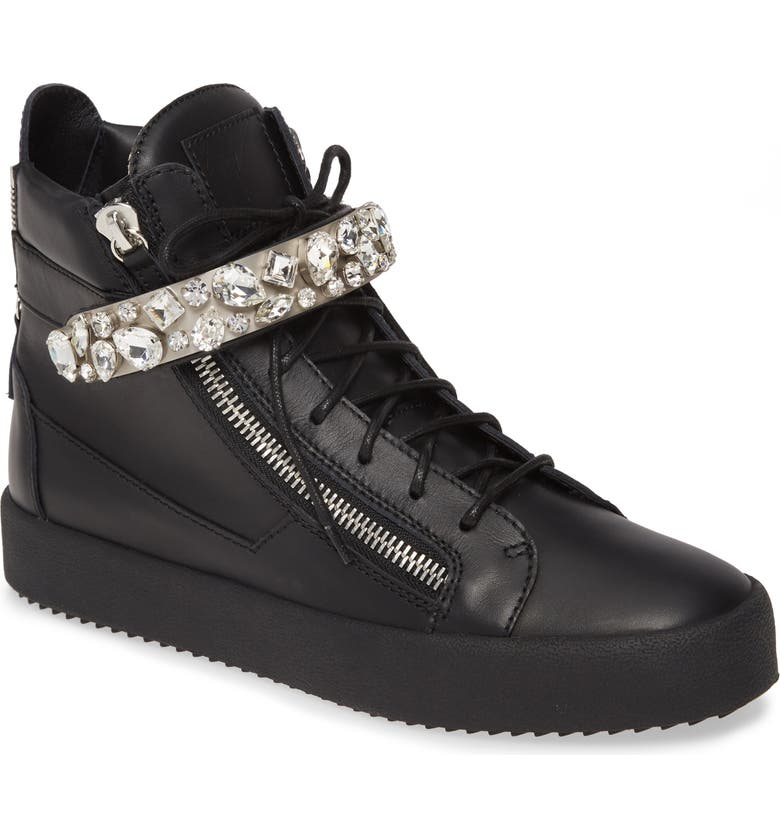 GIUSEPPE ZANOTTI Studded High Top Sneaker, Main, color, NERO