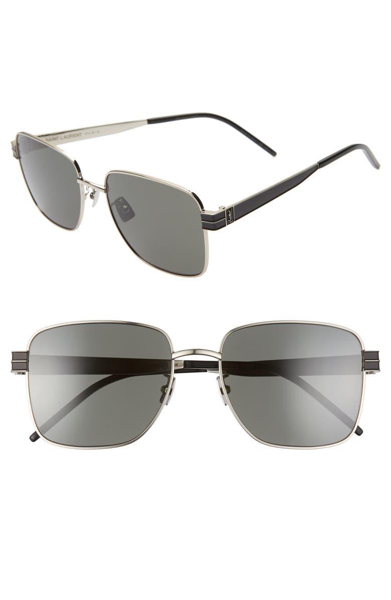 SAINT LAURENT 57mm Square Sunglasses, Main, color, SHINY SILVER/ GREY