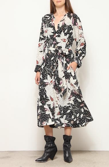 Floral Print Stretch Silk Long Sleeve Midi Dress, video thumbnail