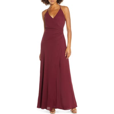 Wayf The Allison Faux Wrap Chiffon Gown, Red