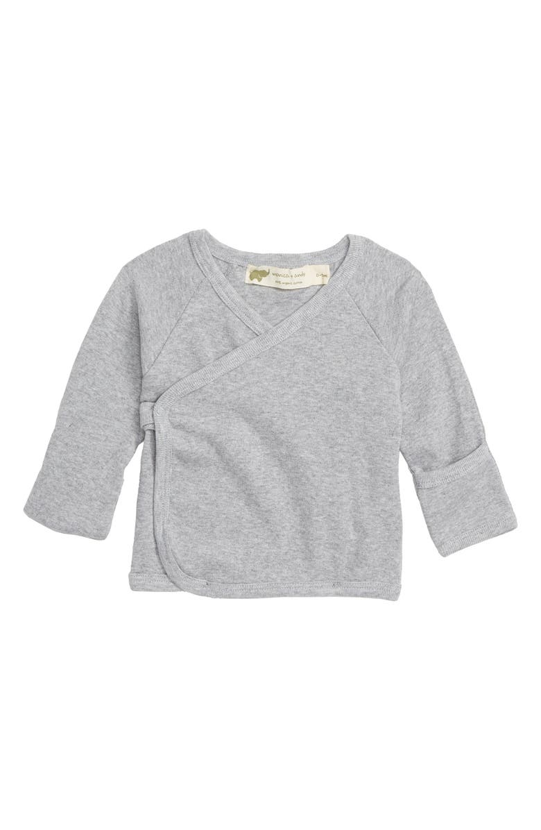 MONICA + ANDY Hello Baby Organic Cotton Top, Main, color, HEATHER GREY