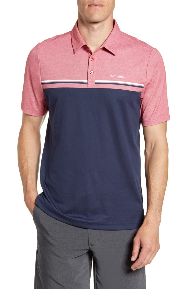 TRAVISMATHEW Colorblock Polo, Main, color, HEATHER CARDINAL