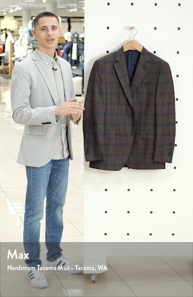 Flynn Classic Fit Plaid Wool Blend Sport Coat, sales video thumbnail