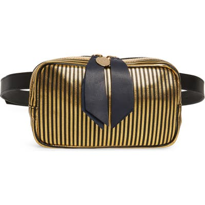 Clare V. Le Belt Disco Stripe Leather Belt Bag - Black