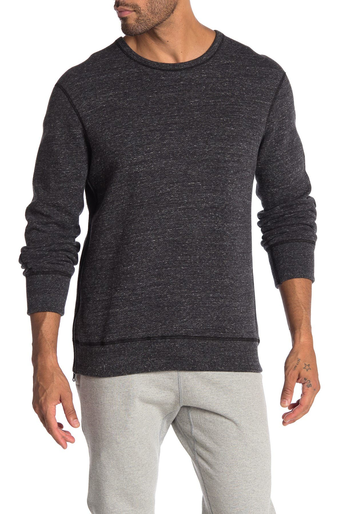Image of REIGNING CHAMP Mesh Double Knit Side Zip Crew Neck Sweater