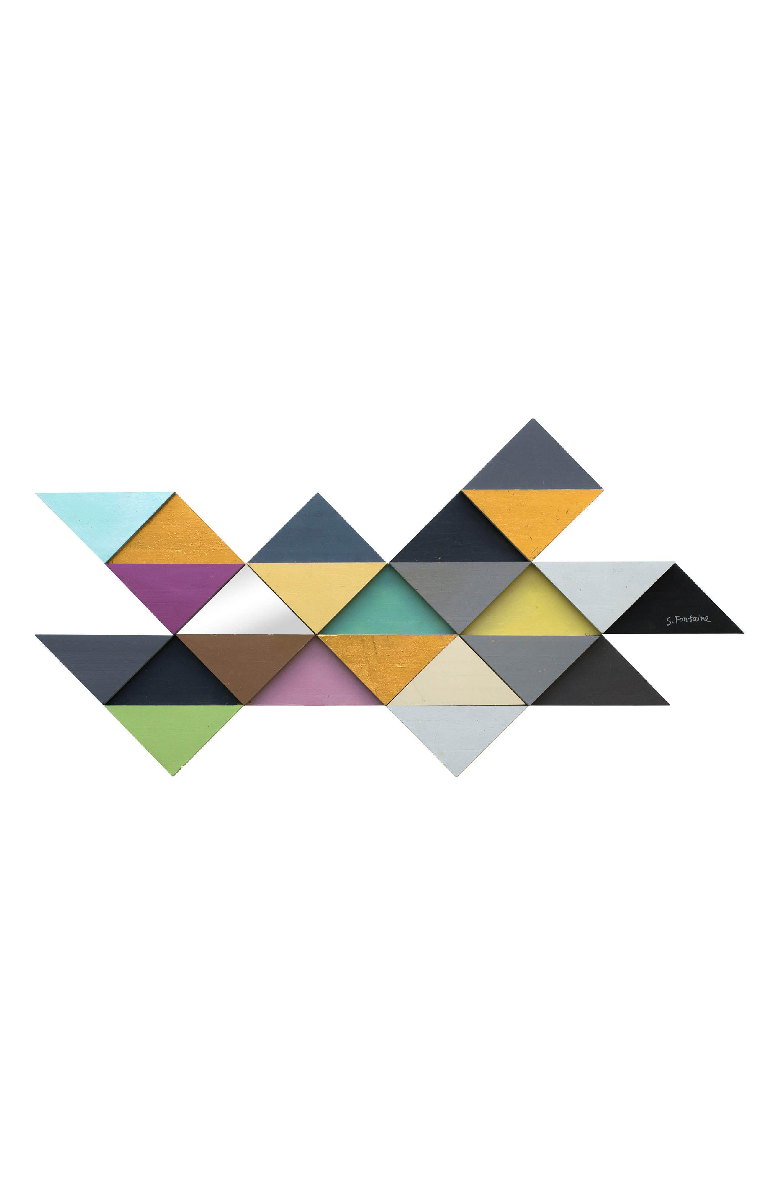 Add modern sophistication to any space with this colorful, geometric wall art. Style Name: Renwil Tremulous Triangle Wall Art. Style Number: 5528903. Available in stores.