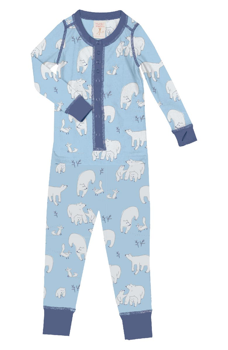 MUNKI MUNKI Polar Bears Fitted One-Piece Pajamas, Main, color, BLUE