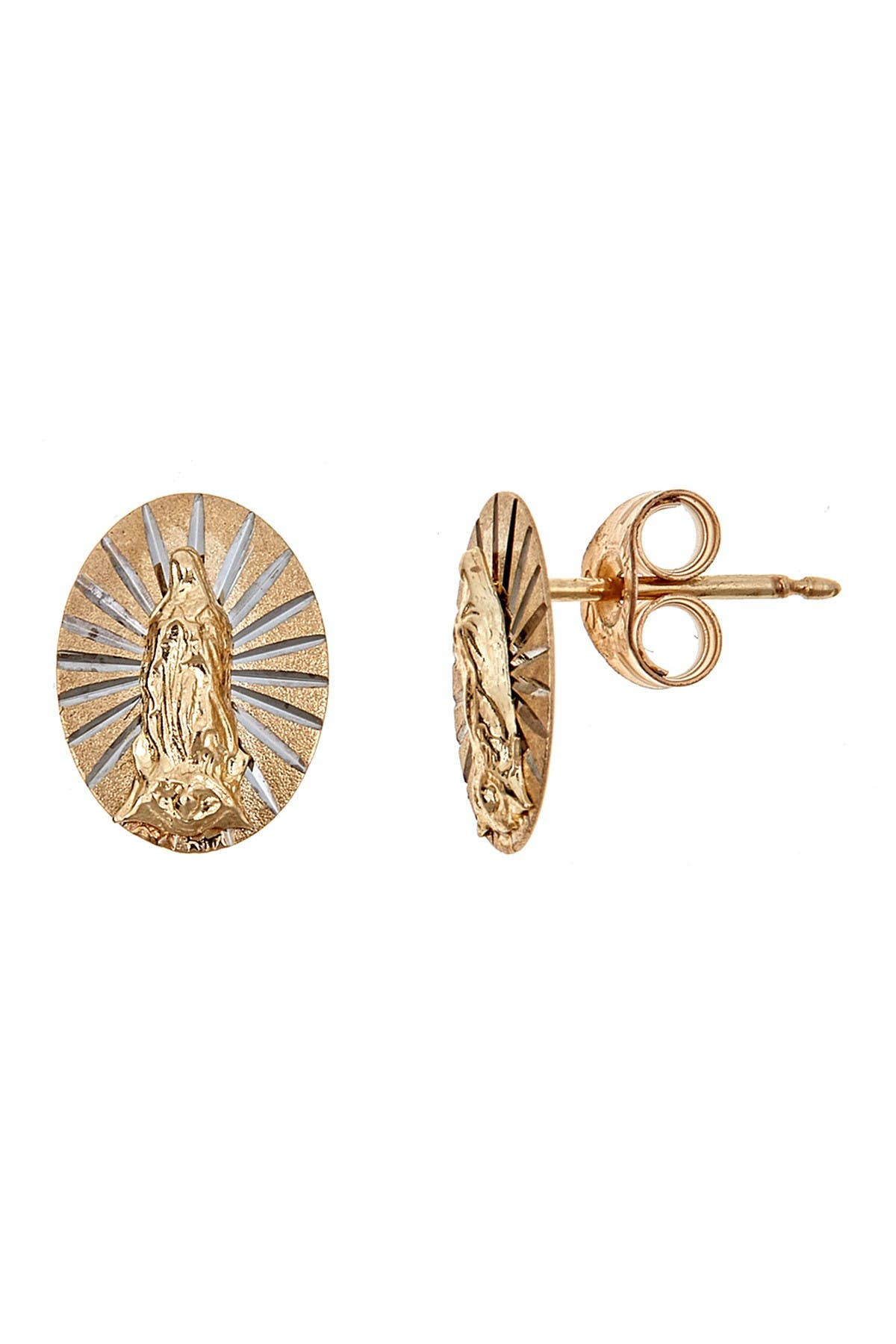 Image of Best Silver Inc. 14K Yellow Gold Etched Guadalupe Stud Earrings