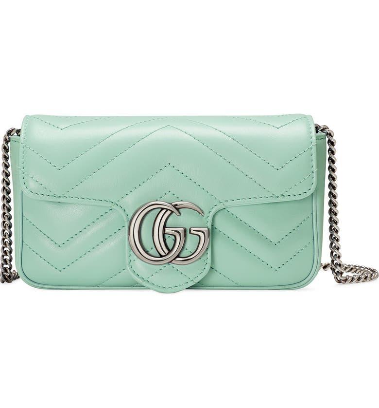 GUCCI Super Mini GG Matelassé Leather Crossbody Bag, Main, color, WATER GREEN
