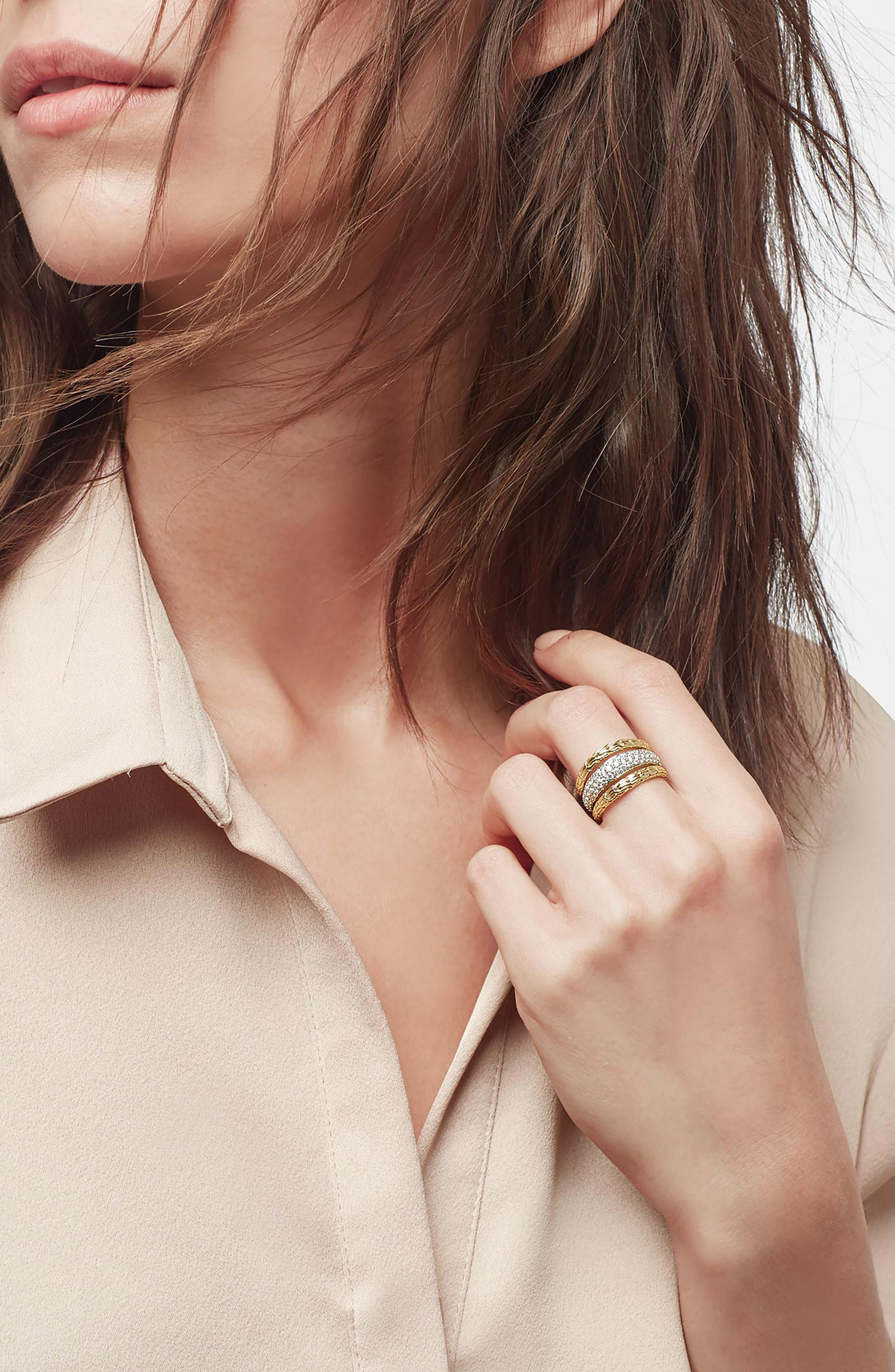 ,                             Classic Chain 18K Gold & Pavé Diamond Ring,                             Alternate thumbnail 2, color,                             GOLD