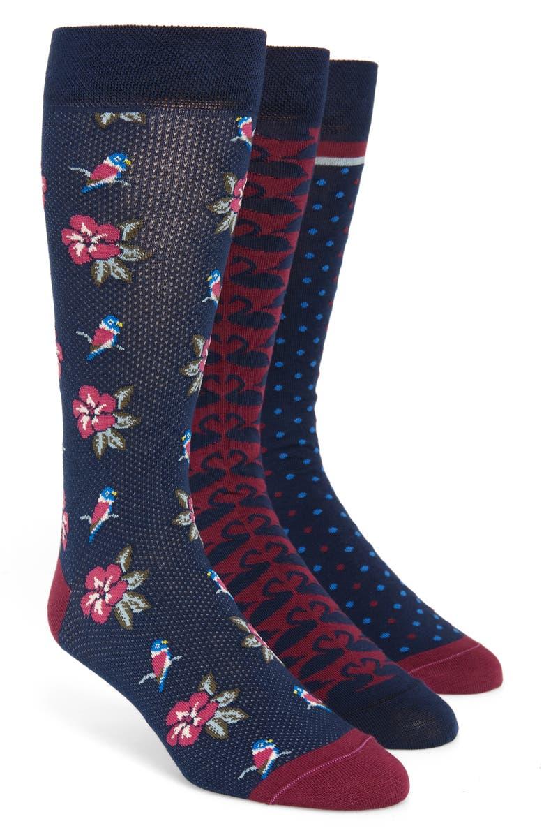 TED BAKER LONDON 3-Pack Valentines Socks, Main, color, NAVY MULTI