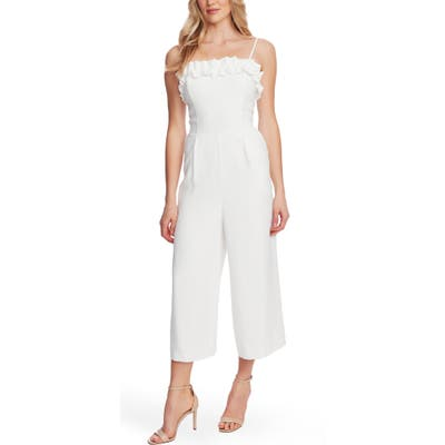 Cece Ruffle Trim Belted Wide Leg Jumpsuit, White